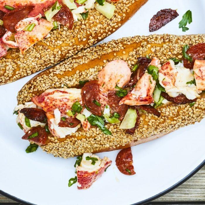 Lobster rolls with chorizo