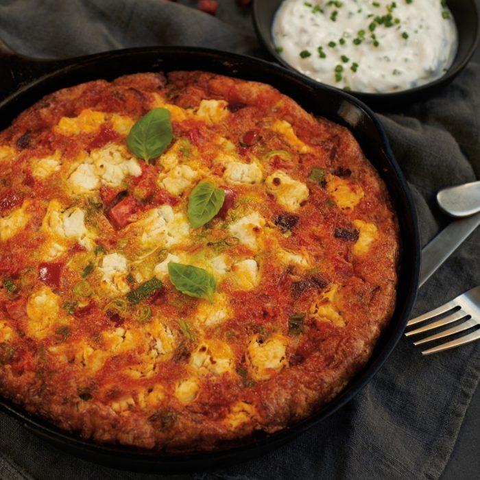 Omelette façon frittata aux dés de chorizo