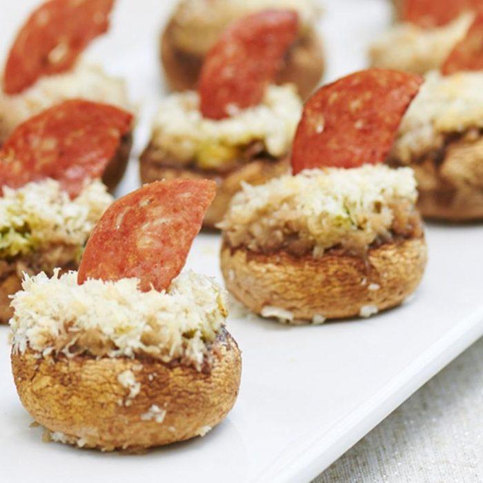 Mushrooms stuffed with Thin Sliced Salametti Marsala and parmesan cheese