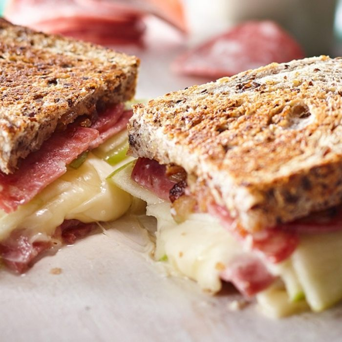 Grilled cheese with Genoa salami, green apple, strong cheddar and provolone